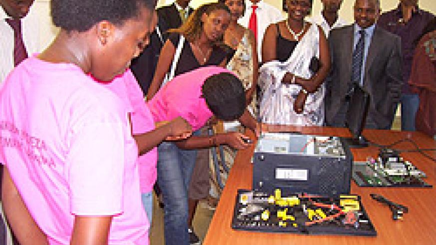 One of the girls demonstrates her IT skills (photo by A.Gahene)