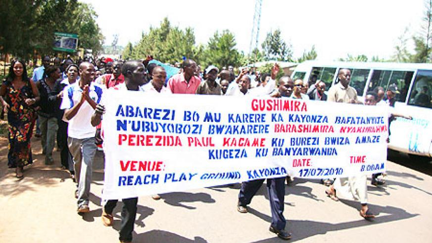 Teachers marching through Kayonza town (Photo: S. Rwembeho)