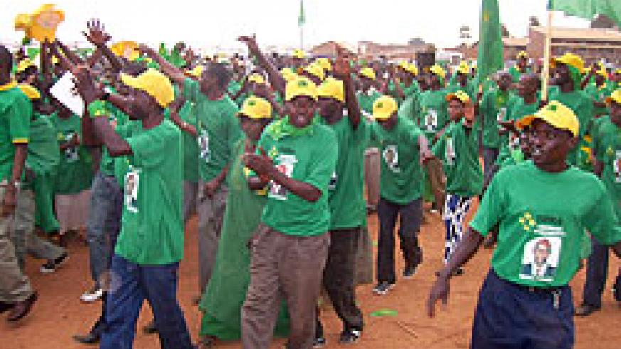 PL supporters chanting party slogans at Byumba taxi park yesterday