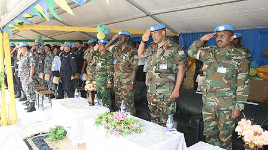 Lt. Gen. Nyamvumba (c) with other commanders of the UNAMID force in Darfur during the function
