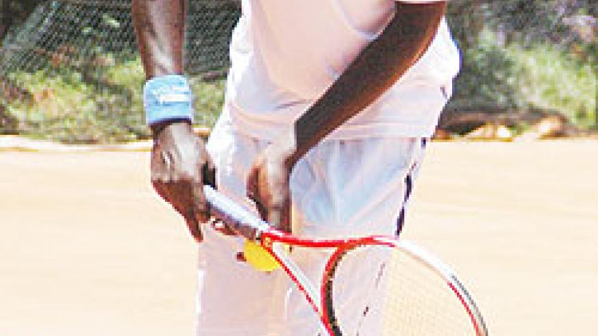 Gasigwa gets ready to serve during a previous tournament. The player is through to the second round of the national tennis championship which is being played at Cercle Sportif. (File Photo)