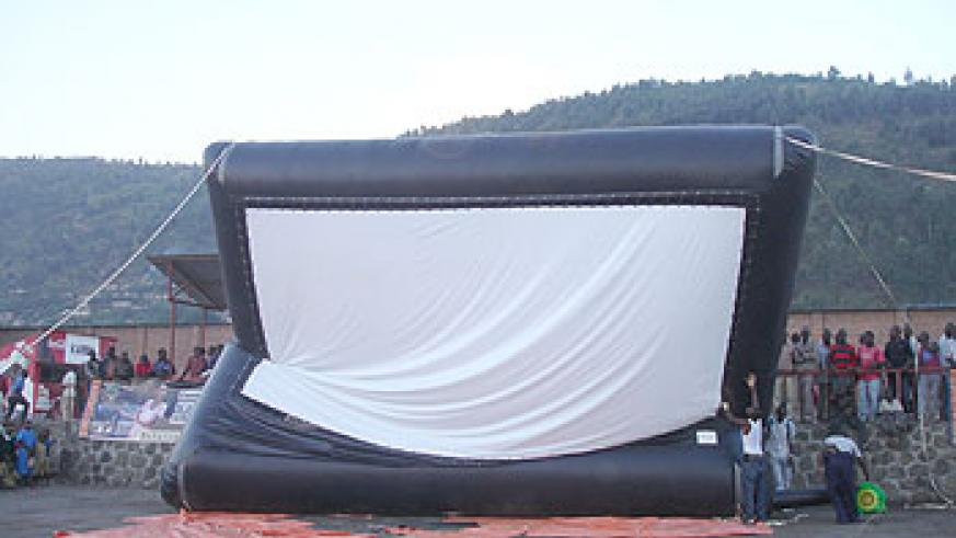 The large screen is simply air and inflated rubber.