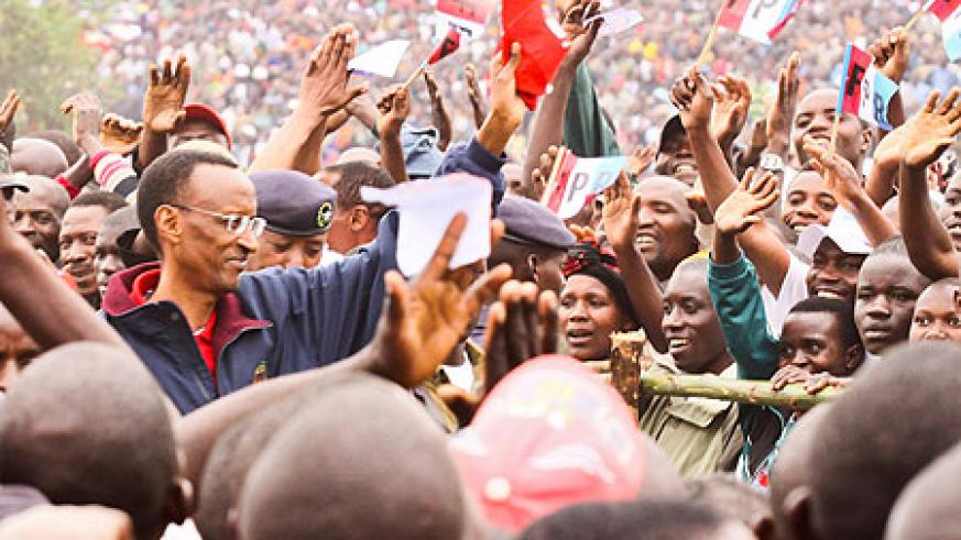 Tens of thousands were on hand to receive President Kagame during his campaign tour of Burera District (Photo Adam Scotti)