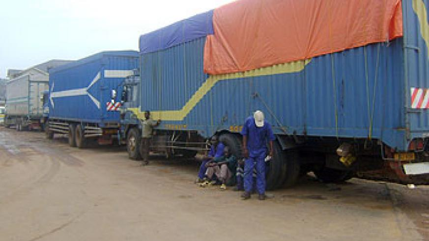 Container trucks await service at Gatuna. Trucks have greately contributed to road transport systems. (File Photo)