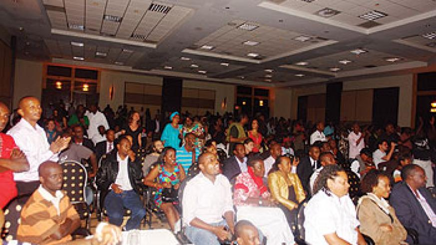 Exhilarated crowd at the concert.