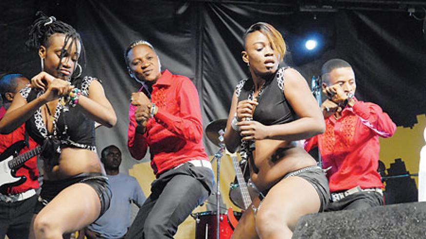 Some of Olomide's dancers on the go.