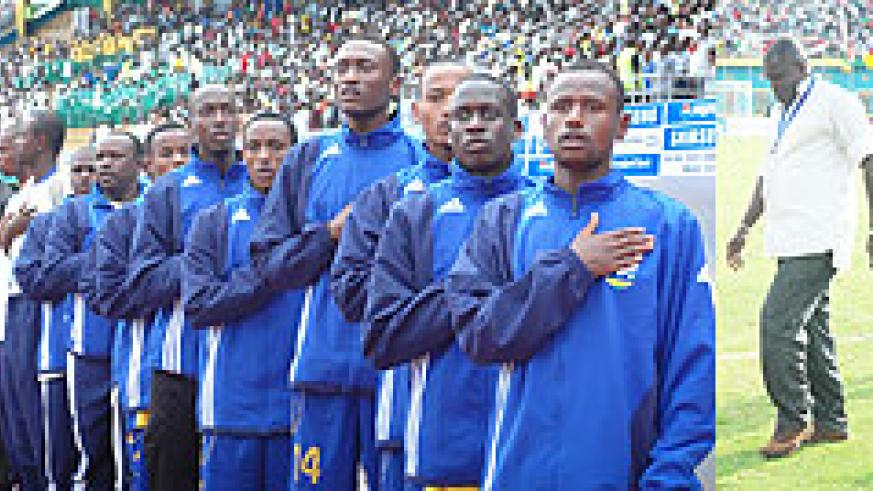 Members of the U-20 national soccer team sing the national anthem during last year's AYC played in Kigali, while Sellas Tetteh (far right) has a tough assignment ahead for him.