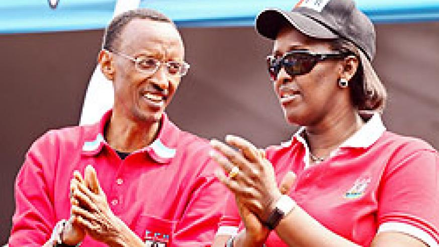 The President and First Lady Jeannette Kagame on the campaign trail in Rutsiro District in  the Western Province yesterday (Photo Adam Scotti)