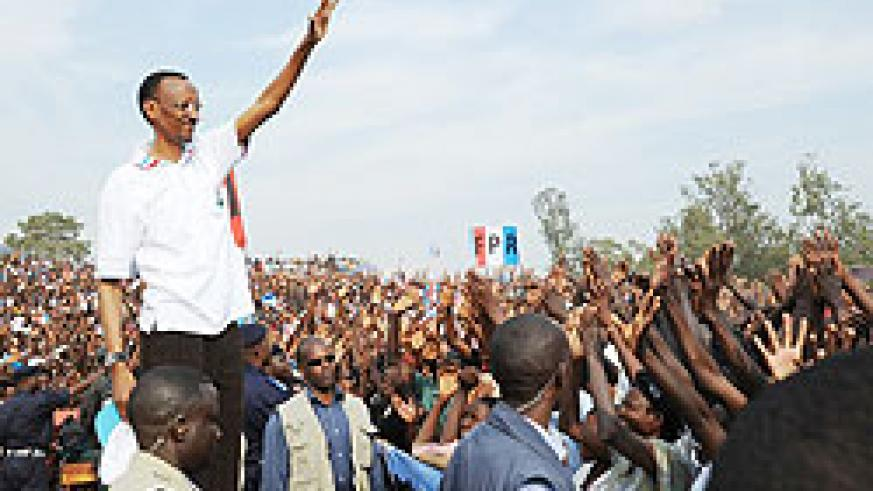 President Paul Kagame amidist a big aplause from Ruhango supporters, yesterday (Photo by J Mbanda)