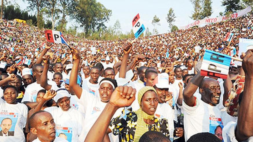Over 80,000 RPF supporters tirned up for Kagame's campaign rally in Nyaruguru (Photo J. Mbanda)