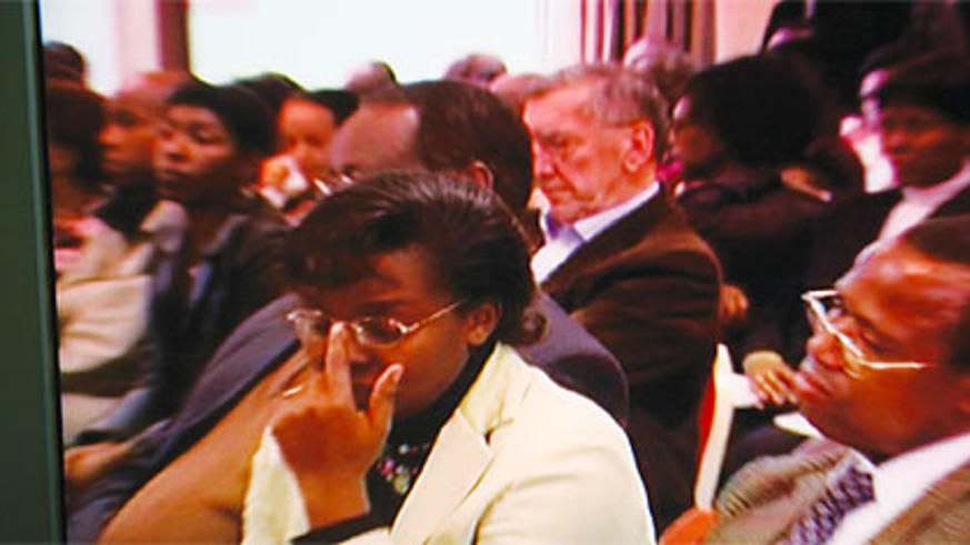 Victoire Ingabire during a meeting of genocide revisionists in Brussels, March 28, 2010. Genocide suspects, such as Shingiro Mbonyumutwa, attended the meeting.