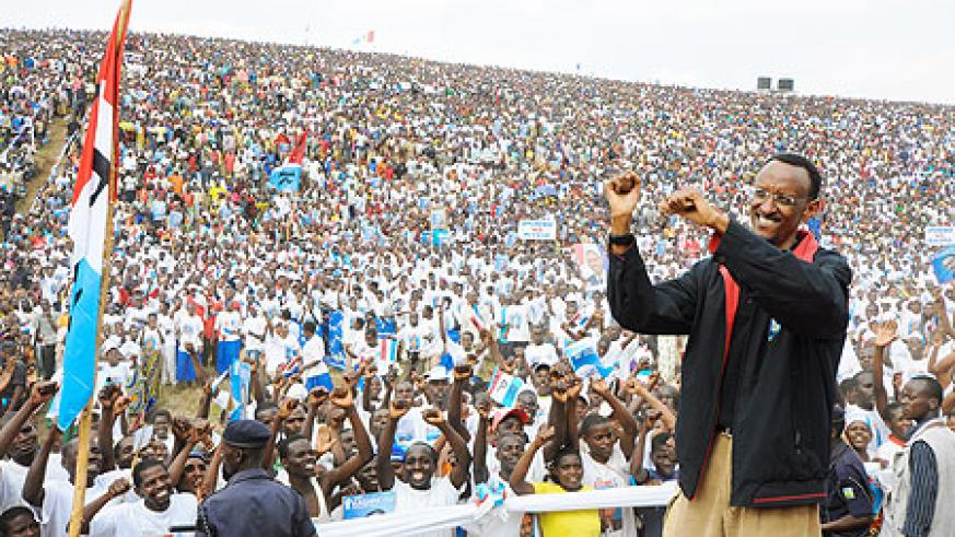 President Kagame's campaign trail took him to Gicumbi, yesterday, where he attracted the biggest crowd so far (Photo Adam Scotti)
