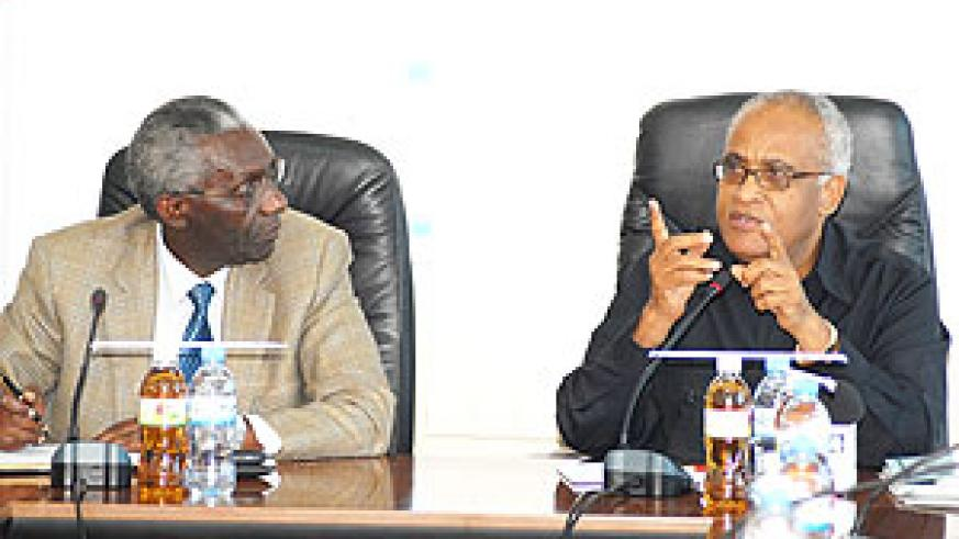 Professor Chrisologue Karangwa (L) and Dr. Salim Ahmed Salim, former Tanzania Prime Minister at NEC offices yesterday ( photo F. Goodman )