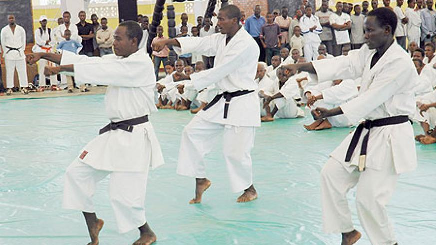 Karate players demostrating their skills during a local event. The national team flew out yesterday to South Africa for an African championship. (File photo)