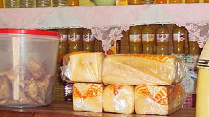 The smuggled bread packed in polythen bags in one of the supermarkets in Nyagatare town. (Photo/D. Ngabonziza)