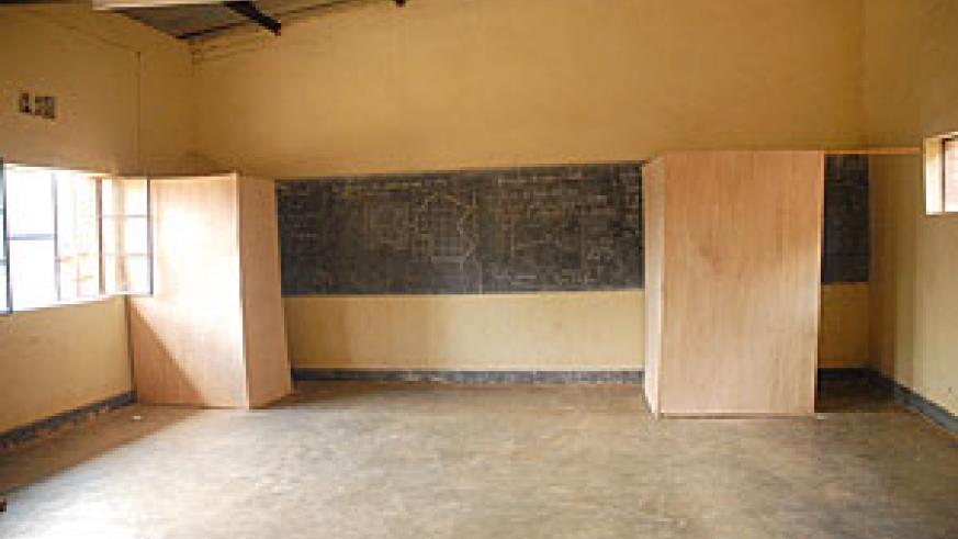 A polling room at College APAPE in Kigarama Sector Kicukiro District. Each classroom will have two voting booths (Photo: F. Goodman)