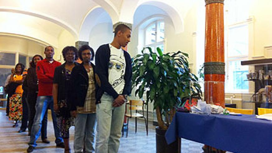 Rwandan queue for their turn to vote at a poling station in the Sweden - Denmark border city of Malmö (Courtsey Photo)