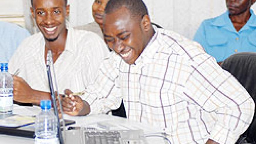 GONE TOO SOON: A jolly Shyaka Clever (R) with fellow journalists recently