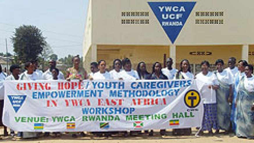 YWCA representatives from East Africa, Sudan and Ethiopia, pose for a group photo in Muhanga (Photo: D. Sabiiti)
