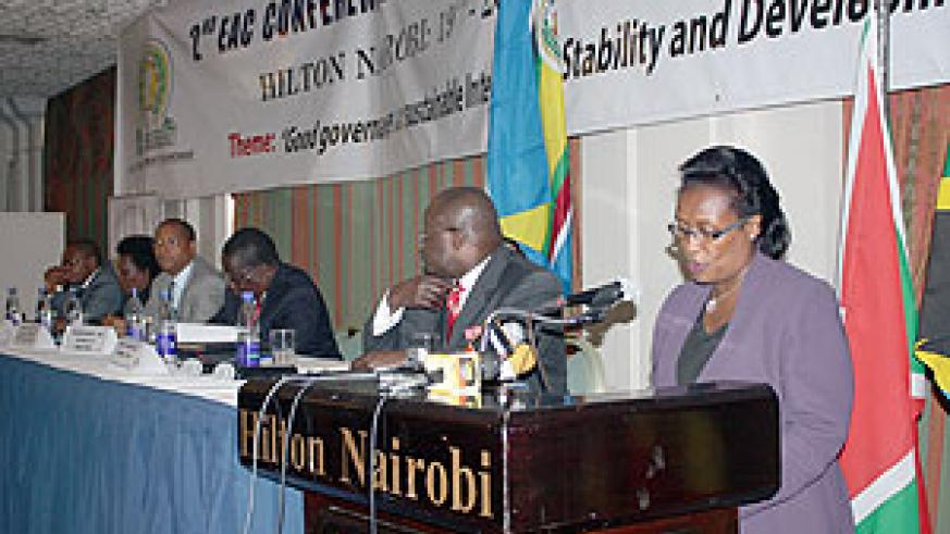 The EAC Deputy Secretary General (Political Federation) Beatrice Kiraso addresses participants at the 2nd EAC Good Governance conference yesterday  at  Hilton Hotel Nairobi Kenya. (Photo / Mukhtar Abdul - EAC)