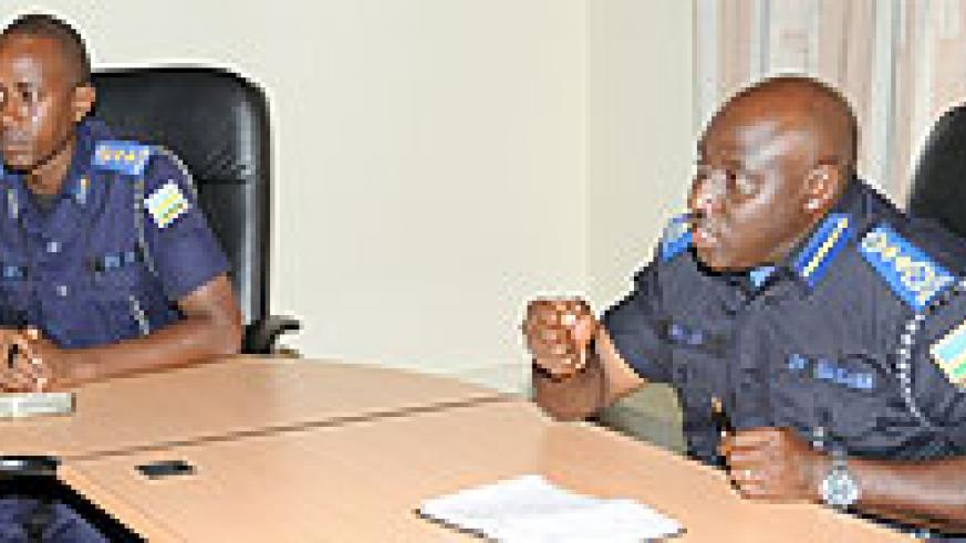 Commissioner General of Police Emmanuel Gasana (R) with C.O Traffic Chief Sup. Vincent Sano at a meeting with proprietors of driving schools. (Photo: J. Mbanda)