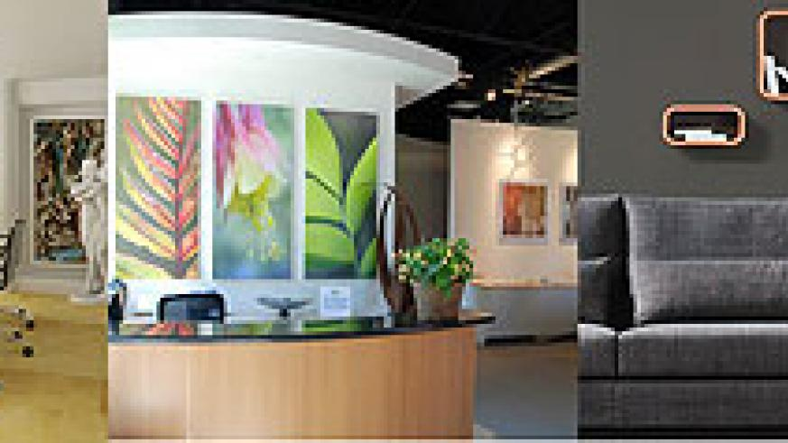 L-R : Modern art is a classic way to create an office atmosphere that is suitable to all clients ; Paintings of nature will help employees feel relaxed ; Stencil art in waiting areas is perfect especially for creative companies