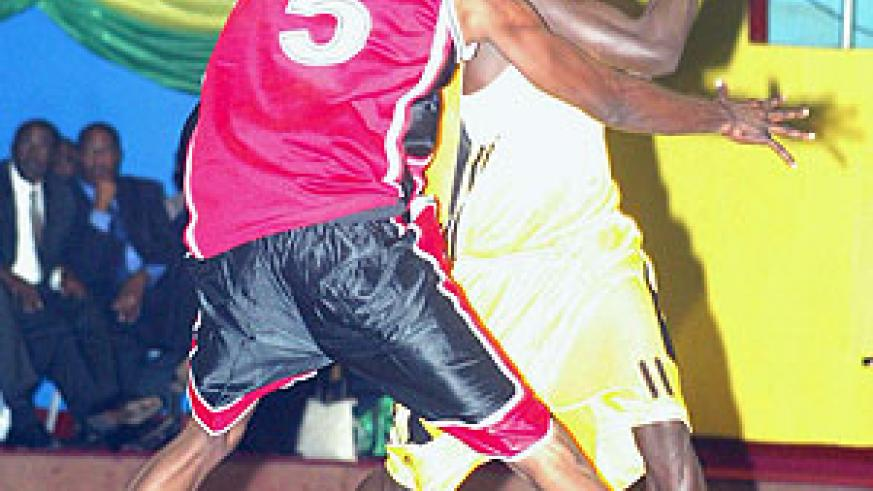 CSK's former player Fiston Muhire (with the ball) during a past Zone 5 Club Championship. (File Photo)