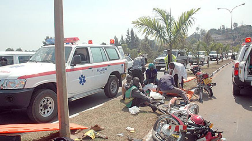 Medics attending to accidents victims, many road accidents have been blamed on motorcyclists (File photo)