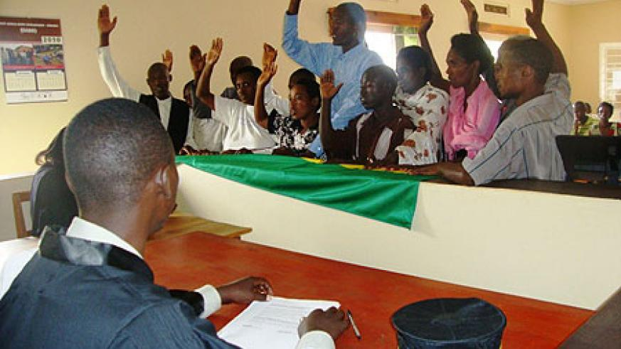 A cross section of  Rwamagana mediators swearing in . (Photo  S. Rwembeho)