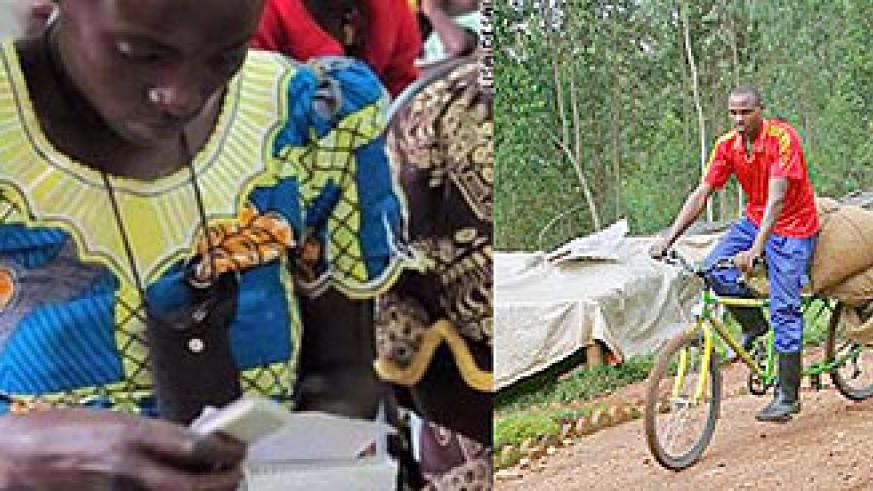 L-R : Transactions through mobile phones make trade easier in rural areas ; Bicycles are the most popular means of transport action in rural Rwanda.