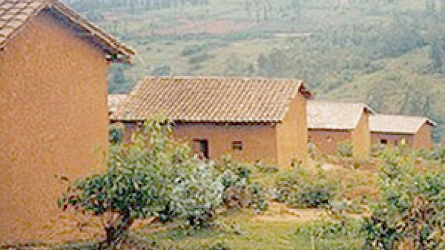 Some of the common tiled roof houses in rural Rwanda.