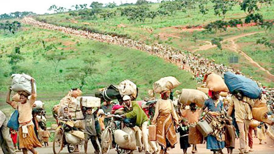 Rwandan refugees returning home. The UN did nothing to repariate them.