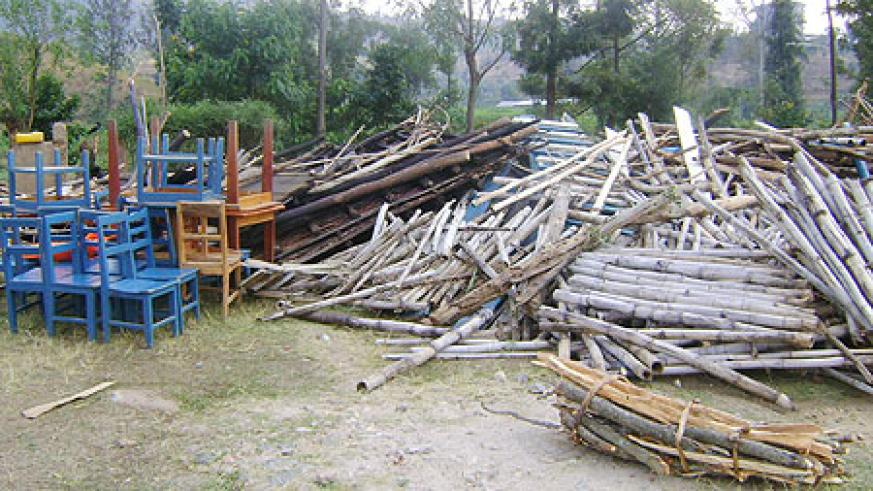 Household items which were in one of the demolished houses (Photo S Nkurunziza)