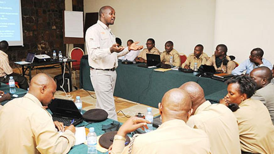 A training session for the Prison staff, yesterday. (Photo; T. Kisambira)