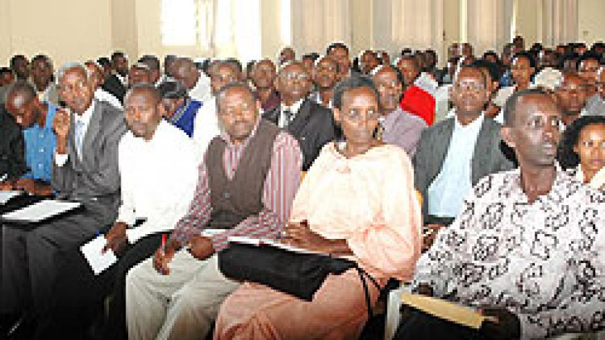 Teachers listen in during a meeting. Umwalimu Sacco has announced it spent Rwf 6 billion to teachers in loans (File Photo)