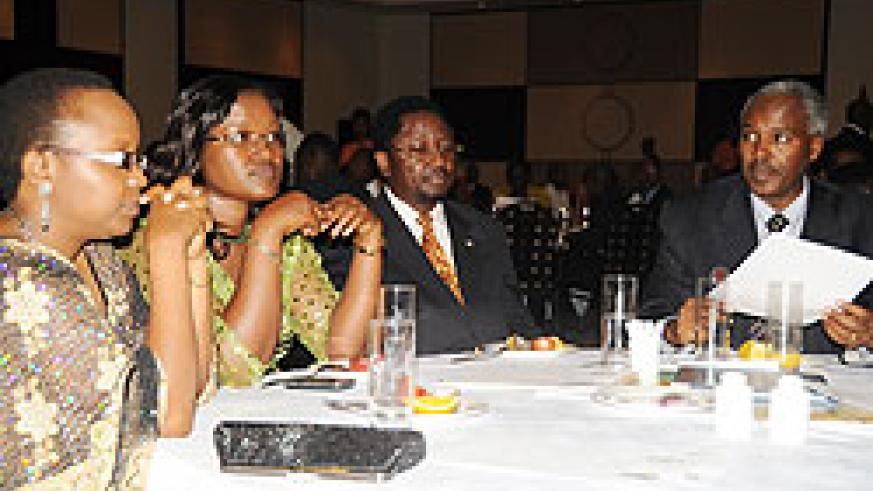 (L-R) Sharon Haba,of MINEDUC,EAC Minister Monique Mukaruliza,Joseph Foumbi of UNICEF  and Charles Murigande Minister of Education at the fundraising dinner on Friday (Photo /T. Kisambira)