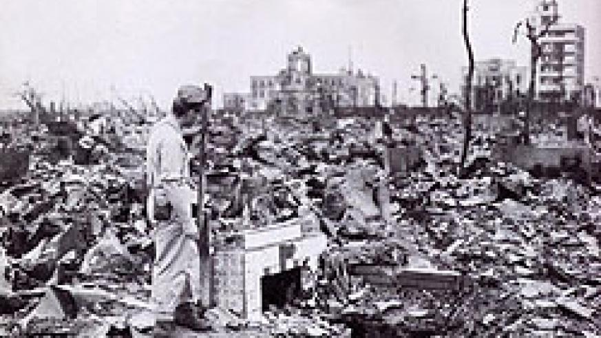 A residential street in Hiroshima after the atomic bomb. It has never been called Genocide