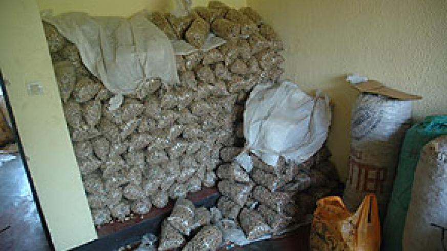 A Pile of drugs seized by National Police. The force has released a new report on drug trafficking and consumption (File Photo)