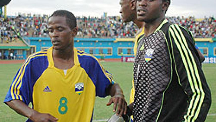 Amavubi players look dejected after the infamous 2010 Africa Nations Cup qualifying campaign. The team will regroup on Monday ahead of their home qualifier against Benin. (File photo)