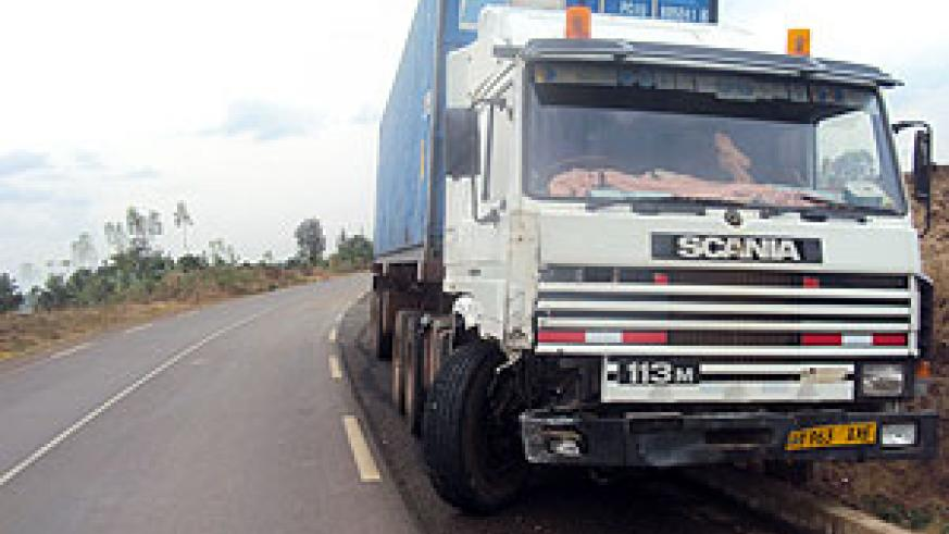 The abandoned truck that was involved in the accident (Photo /S. Rwembeho)
