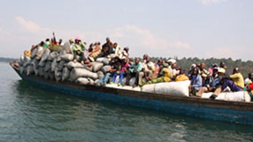 Most accidents on lake Kivu have been blamed on overloading of boats such as this one (photo S Nkurunziza)