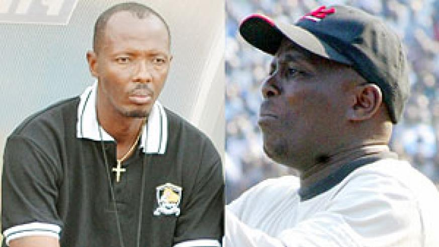 L-R : Eric Nshimiyimana  will carry on as APR's assistant coach next season ; Ntagwabira is widely regarded as Rwanda's best coach ever. (File photo)