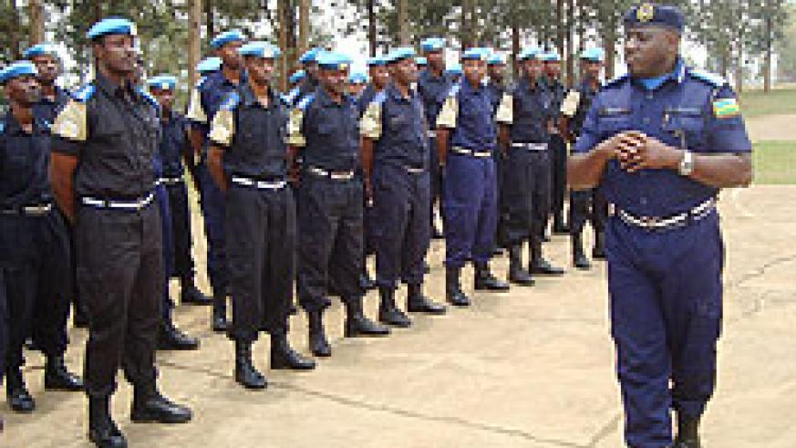 Commissioner General of Police (CGP), Emmanuel Gasana addressing the returning police officers yesterday (Courtesy photo)
