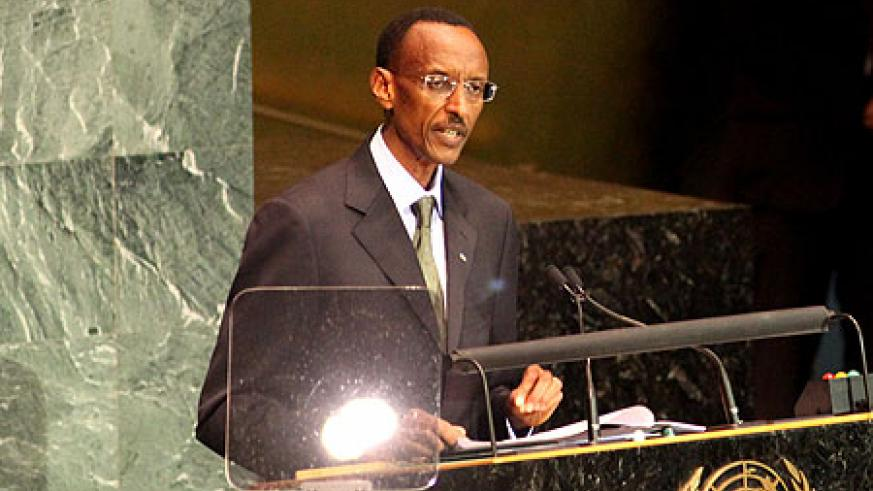 President Kagame addressing the MDG summit in New York, yesterday (Photo/Urugwiro Village)