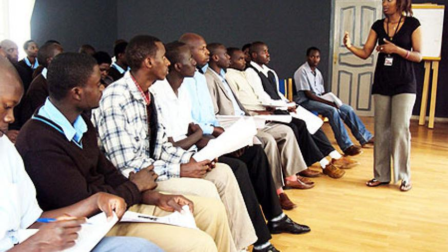 Parfaite Uwera,the programme coordinator  educates students on the issues surrounding genocide and its ideology (Photo: D. Sabiiti)
