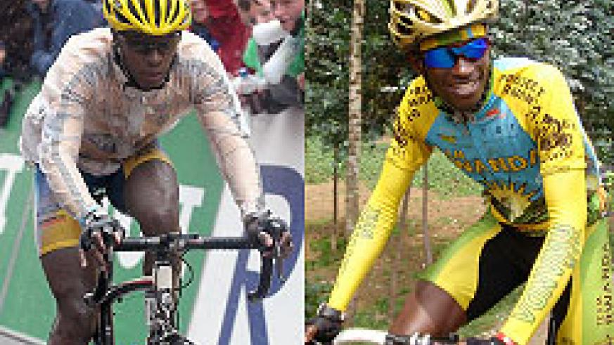 Adrien Niyonshuti will lead Rwanda's cyling team, which also includes Obed Ruvogera (R).