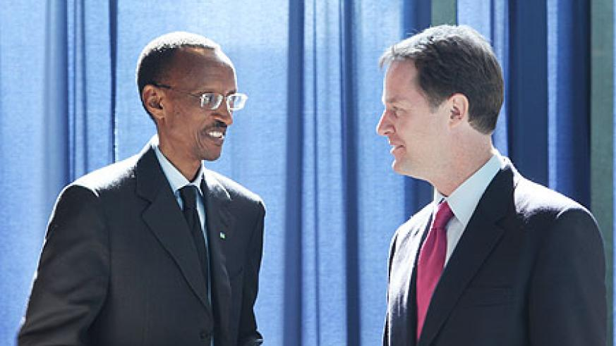President Kagame with British Deputy Prime Minister Nick Clegg at the UN General Assembly yesterday (Photo: Adam Scotti)