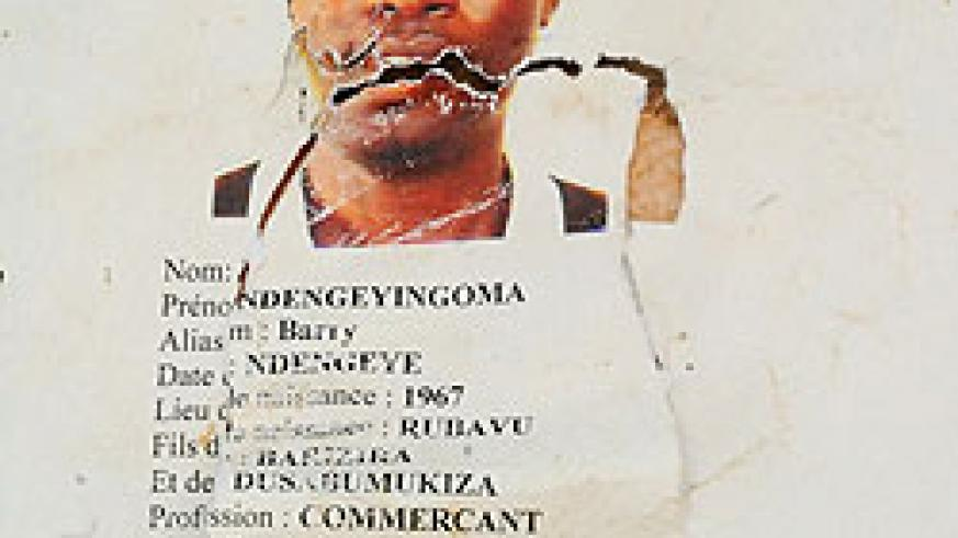 A police poster outside Remera Police Station  announcing the hunt for Barry Ndengeyingoma alias Ndengeye (Photo; T. Kisambira)