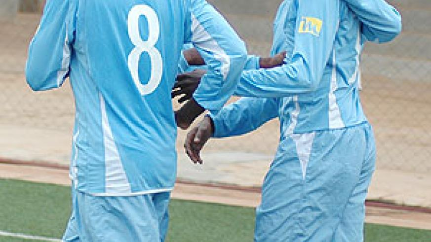 Rayon players celebrate after scoring against Atraco in last season's Primus league. (File Photo)