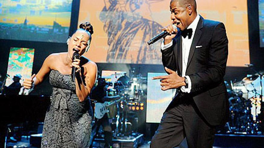 Alicia and Jay-Z provided the entertainment, though Jay-Z looked concerned that Keys might go into labour when hitting the high notes.